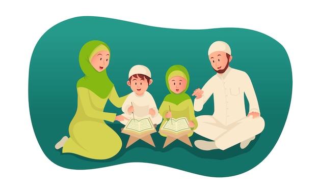 Pai muçulmano ensinando o alcorão sagrado para seus filhos. ilustração do conceito do ramadã