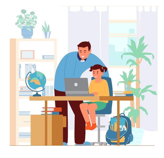 Pai ou tutor que ensina a menina em casa