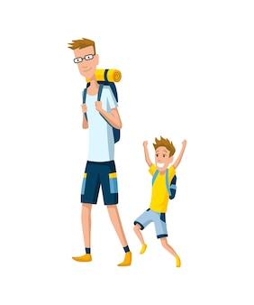 Pai passa tempo com filho. pai e filho fazem caminhadas com mochilas, conceito de família feliz