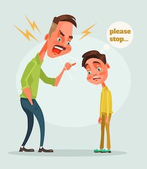 Pai, personagem repreende filho. ilustração em vetor plana dos desenhos animados