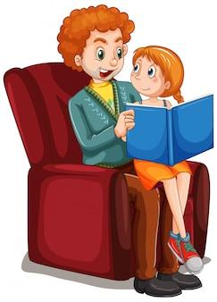 Pai reding história para filha no sofá
