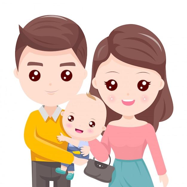 Pai segurando a criança e linda mãe