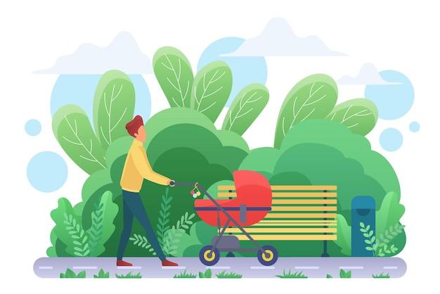 Pai solteiro com carrinho de bebê caminhando no parque