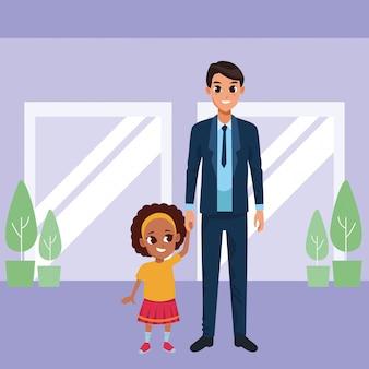 Pai solteiro, com, pequeno, filha, caricatura