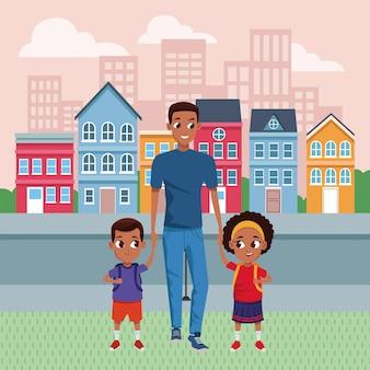 Pai solteiro de família com desenhos animados para crianças