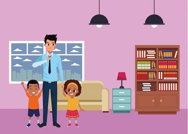 Pai solteiro de família com menino e menina afro