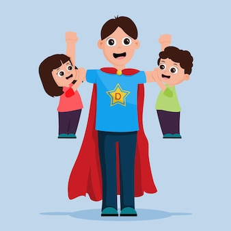 Pai super herói com seus dois filhos