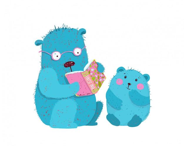 Pai urso de pelúcia ensinando filhote de urso a ler, fazer lição de casa, ensinar pré-escola.