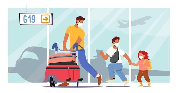 Pai viajando com filha e filho