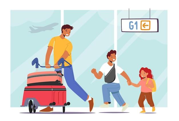 Pai viajando com personagens de filha e filho. jovem com filhos empurrando carrinho com malas