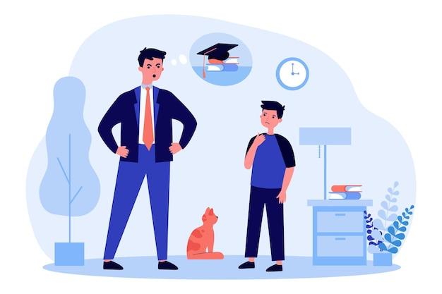 Pai zangado, falando com o filho sobre falta de estudo. escola, aluno, ilustração plana de pai. conceito de educação e educação familiar