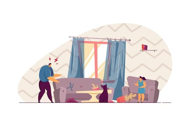 Pai zangado, gritando com o cachorro por fazer bagunça. sofá danificado, planta no chão, garota defendendo a ilustração em vetor plana animal. animais de estimação, conceito de família para banner, design de site ou página de destino