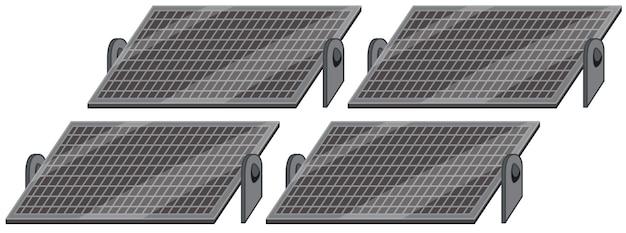 Painéis de células solares em fundo branco
