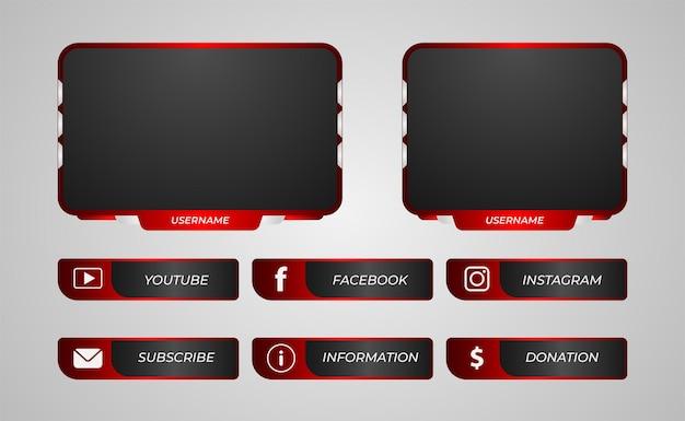 Painéis de contração sobrepostos em gradiente vermelho para streaming de jogo