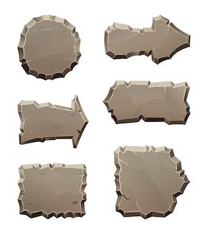 Painéis de direção de movimento de pedra e blocos isolar em branco