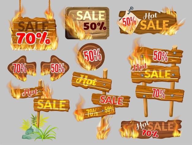 Painéis de madeira de venda com queima de chama