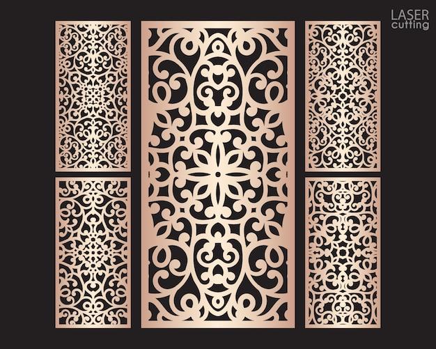 Painéis decorativos de corte a laser com padrão, modelo para o corte. projeto de metal, escultura em madeira.