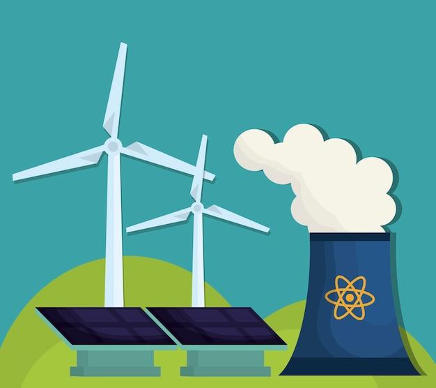 Painéis solares de usinas nucleares e turbinas eólicas eólicas