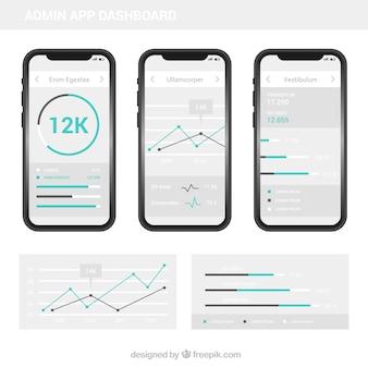 Painel de administração do aplicativo moderno com design plano