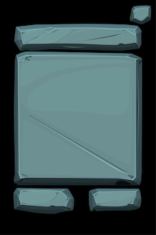 Painel de banner de pedra, interface de usuário cinza antiga.