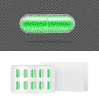 Painel de cápsula de medicamento pílula transparente realista na ilustração de fundo branco. comprimidos médicos e conceito de saúde.