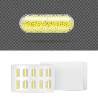 Painel de cápsula de medicina pílula transparente realista com caixa de comprimidos conceito médico e de saúde.