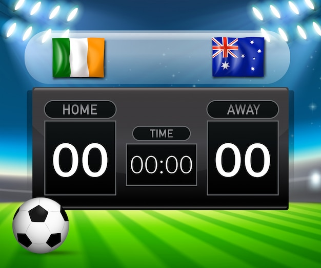 Painel de classificação do irland vs australia