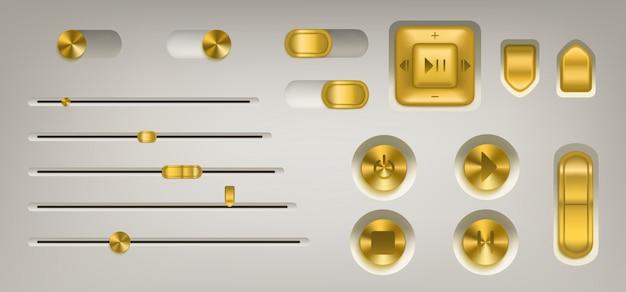 Painel de controle de música com botões e botões dourados