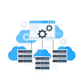 Painel de controle do servidor, hospedagem de ilustração vetorial de software
