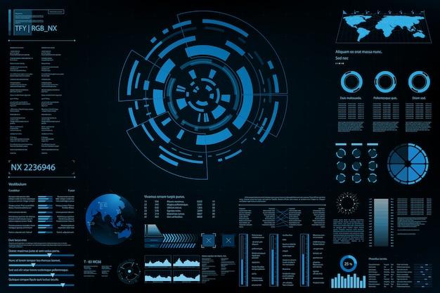 Painel de elemento futurista.informações de análise de dados do mapa mundial