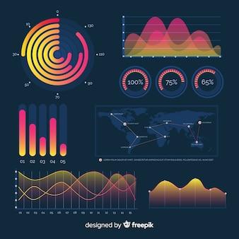 Painel de elementos de infográfico gradiente escuro