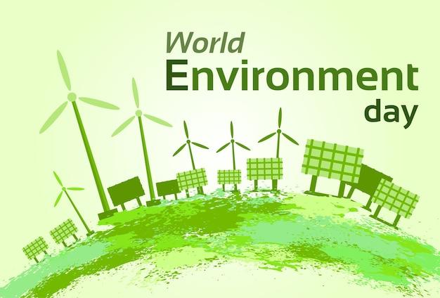 Painel de energia solar de turbina eólica verde dia mundial do meio ambiente