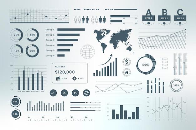 Painel de infográfico de dados de negócios