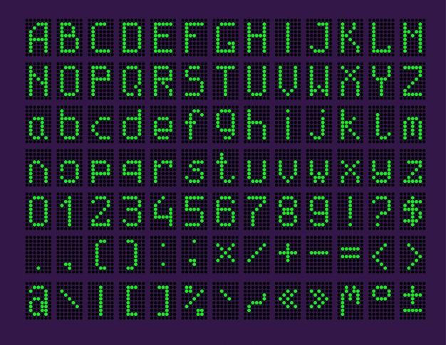 Painel de led com alfabeto e números