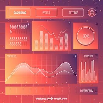 Painel de painel de administração com estilo gradiente