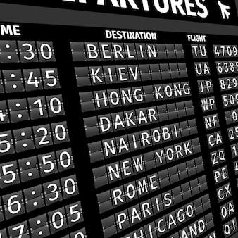 Painel de partida do aeroporto em perspectiva