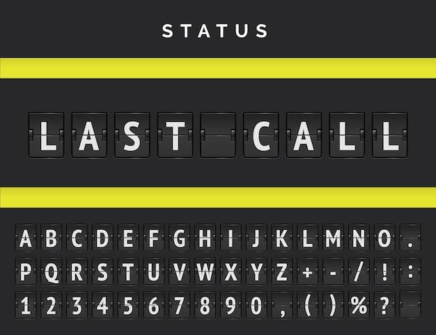 Painel do terminal do aeroporto com status do voo. vector flip scoreboard de partida anunciando a última chamada de um voo