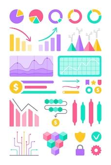 Painel ortográfico de ilustração vetorial. infográficos de diagramas e gráficos de modelo de vetor de design de site. interface do painel de administração com tabelas verdes, gráficos e diagramas.