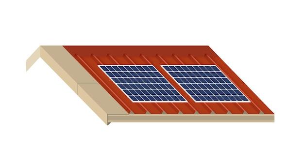 Painel solar no telhado de uma casa, conceito de recursos sustentáveis, design de ilustração vetorial.