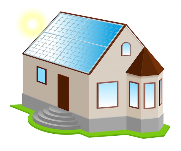 Painel solar no telhado. nova casa particular isométrica com janela de sacada
