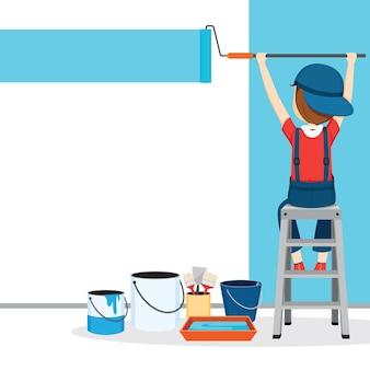 Painter coloring wall por paintroller, pessoas ocupações