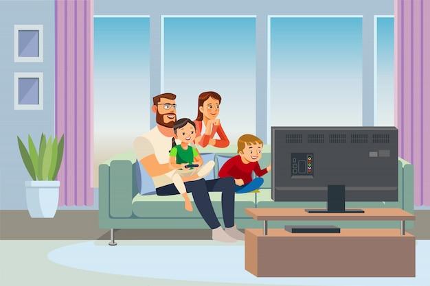 Pais a passar tempo com vetor de crianças em casa
