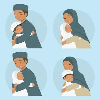 Pais abraçando seus filhos, família afro-americana muçulmana feliz