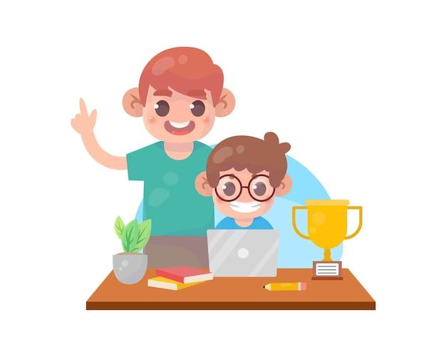 Pais ajudam a ensinar criança Vetor Premium
