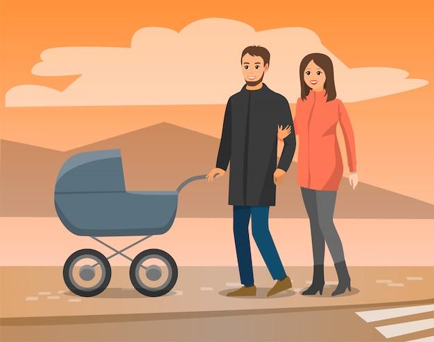 Pais andando com carrinho de bebê, vista para a montanha