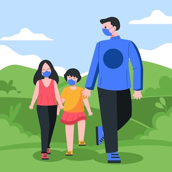 Pais andando com criança usando máscara