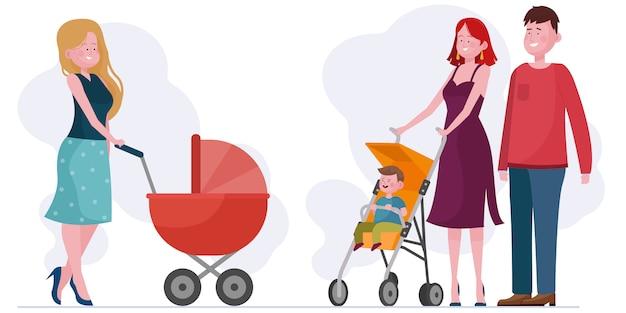 Pais andando com crianças em carrinho de bebê