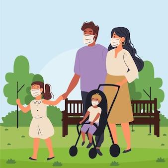 Pais andando com seus filhos com máscaras médicas