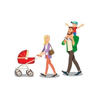 Pais andando com vetor de crianças pequenas