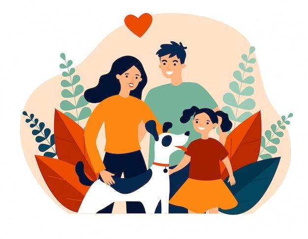Pais apresentando animal de estimação para seu filho
